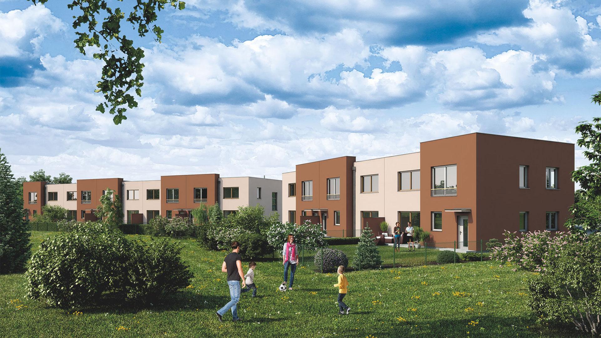 Pohled na ŘRD Smrk ze zahrady. Od prava domy číslo 8, 9, 10 a 11, 12, 13, 14.