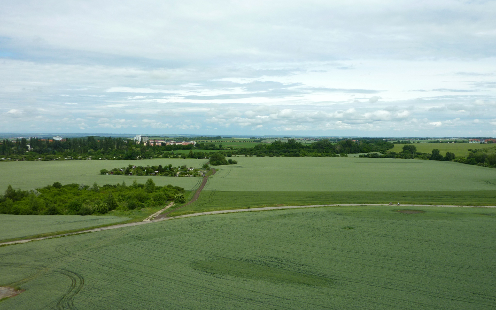 Pohled na pozemek z paneláku CG (2012)